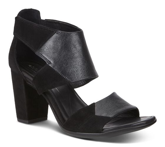 SHAPE BLOCK SANDAL Bold Strap 65mm (BLACK/BLACK)