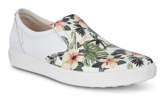 SOFT7 Ladies Slip On (WHITE/FLOWER PRINT)