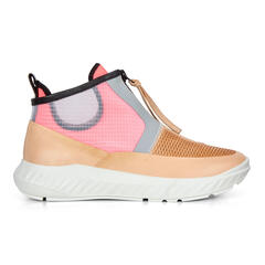 ECCO ST.1 LITE Womens Mid Cut Zip Sneaker with Neo-Nude Leather